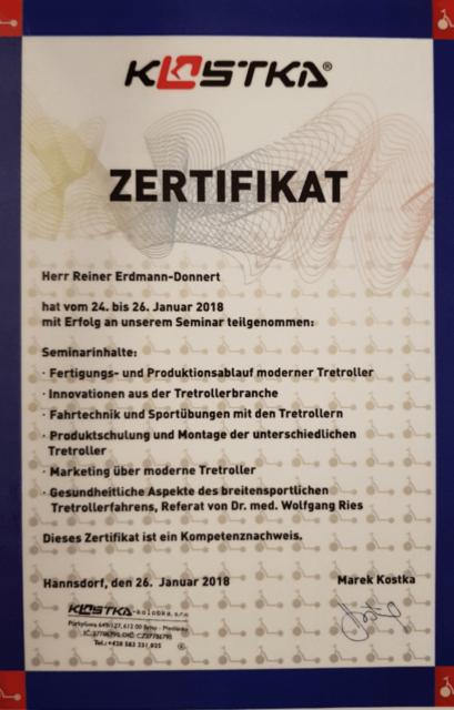 Zertifikat Fortbildung bei Kostka - gute Dogscooter Beratung